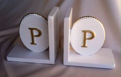 Oz 's grand daughter will be receiving these personalized bookends for her new nursery