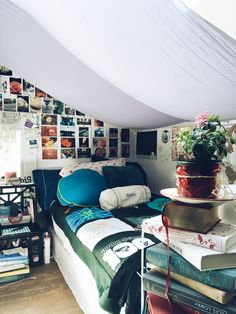 cute teen bedroom with pictures and curtains
