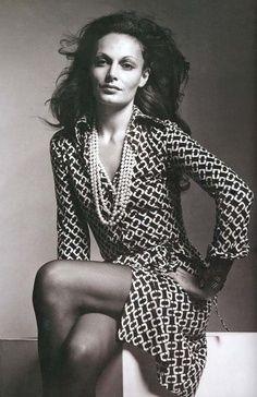 Diane Von Furstenberg, in her iconic 'Wrap Dress'
