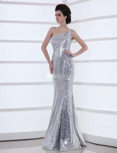 Fashion Silver Mermaid Sequined One-Shoulder Womens Evening Dress. Fashion Silver Mermaid Sequined One-Shoulder Womens Evening Dress. See More One Shoulder at http://www.ourgreatshop.com/One-Shoulder-C968.aspx