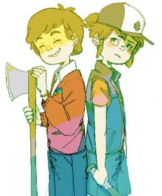 Pretty cute Gravity Falls genderbend, though I am a bit freaked out as to why genderbent!Mabel is holding an ax and smiling like that.....