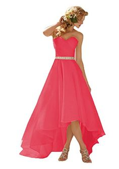 Aurora Bridal® 2016 Organza Hi-Lo Wedding Dress Bridesmaid Gown Coral, 14. Size Note: Please choose a suitable size from our size chart,to make your dress fittest and perfect for you, we suggest you choose customize the dress and provide us with your accurate measurements about bust/waist/hip/height/shoulder/shoes height for tailor made. Dress making time within 7-20 days. If you rush to the dress, pls contact us to work on an urgent order. About delivery, if you select the STANDARD shipping…