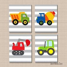 Playroom Art, Art Wall Kids, Nursery Wall Art, Wall Art Decor, Boys Bedroom Decor, Childrens Room Decor, Transportation Nursery, Construction Nursery, Room Themes