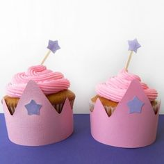 Princess Crown Cupcakes - easy idea for a little girl's party Princess Sofia Birthday, Sofia The First Birthday Party, Little Girl Birthday, Princess Party, Birthday Parties, Birthday Ideas, 2nd Birthday, Crown Cupcakes, Cute Cupcakes