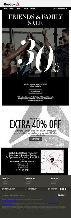 Use large text and branded images to encourage customers to click through to your website, like Reebok does in this newsletter.