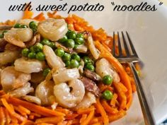 Shrimp carbonara with sweet potato noodles