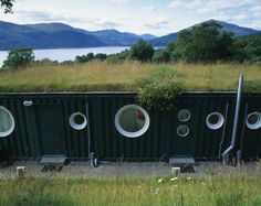 Shipping container home. The Rosneath-based arts center, Cove Park, overlooks the stunning Loch Long in Scotland, and, since 2002, has had a set of container buildings, known as The Cubes. The first three Cubes housed accommodation units, while another two sets of three were built in 2006, as additional residential and studio units.