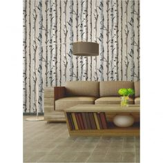 Fine Decor Birch Tree Wallpaper Natural Beige / Cream (FD31051) - Wallpaper from I love wallpaper UK