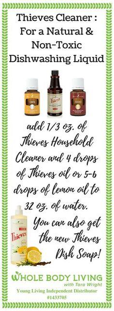 Thieves Cleaner : Dishwashing Liquid - http://wholebodyliving.com/thieves-cleaner-dishwashing-liquid/ -Whole Body Living-#DishSoap, #DishwashingSoap, #EssentialOils, #LemonOil, #ThievesCleaner, #ThievesOil