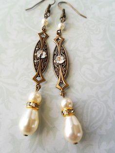 Art Deco Style Bridal Earrings pearls by marygracejewellery, $33.00