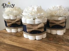 Navy and Burlap Mini Diaper Cakes Shower by BuzzyDiaperCakes