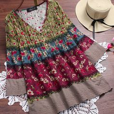 Vintage Floral Print Patchwork 3/4 Sleeve V-neck Blouses For Women Cheap - NewChic