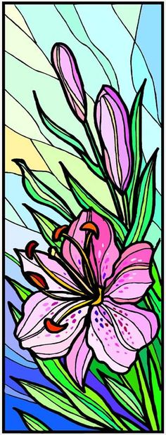Window Art in Vinyl Etchings: Pink Stargazer Lily Flower - Etched Vinyl Stained Glass Film, Static Cling Window Decal, Flowers