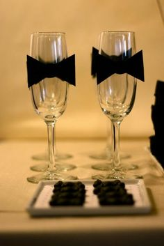 New Year's Engagement Party! Navy, Blue, Silver, White and Black. wine glasses, black bow tie - for New Year's Eve sparkling cider James Bond Party, James Bond Theme, Nye Party, Oscar Party, Casino Party, Party Time, Casino Night, Party Drinks, White Dessert Tables