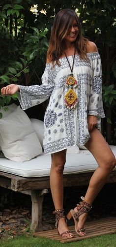 #boho #fashion #spring #outfitideas |Embroidered Boho Dress
