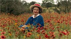 Lady Bird Johnson, Former First Lady, in a field of wild flowers in the Texas Hill Country on May 10, 1990