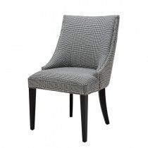 Eichholtz Bermuda Tufted Upholstered Solid Back Side Chair Upholstery Color: Black/White, Leg Color: Black Fabric Dining Chairs, Solid Wood Dining Chairs, Leather Dining Chairs, Upholstered Dining Chairs, Dining Chair Set, Chair Upholstery, Dining Room, Parsons Chairs, Leather Fabric