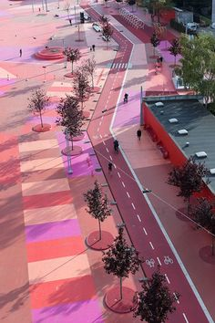 Superkilen - Copenhagen  Why do sidewalks and streets have to grey or black?  What if the were pink or any other color? #Scandinavia #urbanism