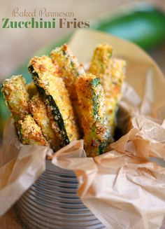 Your new favorite way to eat zucchini! These Baked Parmesan Zucchini Fries are loaded with flavor and baked to golden perfection!
