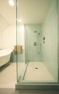 modern glass tile showers -