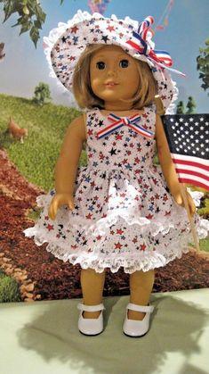Stars & Stripes Fits Melody,Kit, Molly etc American Girl Doll Clothes Sewing Doll Clothes, Sewing Dolls, Girl Doll Clothes, Doll Clothes Patterns, Doll Patterns, Girl Dolls, American Girl Outfits, American Girl Crafts, American Doll Clothes