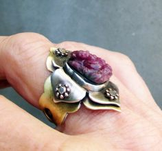 Ganesha in the Lotus Flower Ring Ruby by SilviasCreations on Etsy, $189.00