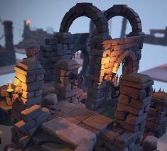 Crumbling Ruins Pack, Warren Marshall on ArtStation at… Game Environment, Environment Concept Art, Environment Design, Temple Ruins, Environmental Art, Medieval Fantasy, Art And Architecture, Game Design, Diorama
