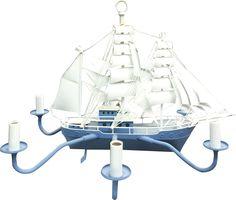 Blue & White Sailboat Chandelier for Kids #lighting #lightfixtures #homedecor