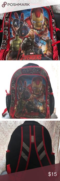 Avengers boys back bag Red and black color ,contains 2 side pockets and a front  pocket that they can put there penciled and school supplies in ,and it has reflective inserts for night visibility front and back Disny avengers Accessories Bags