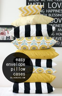 delia creates: Easy Envelope Pillow Case  http://www.lowpricefabric.com/c-121-quilting-fabric.aspx