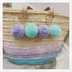 The OMBRE basket bag complete with pom poms! Basket Bag, Pom Poms, Straw Bag, Pink, Bags, Style, Handbags, Rose, Stylus