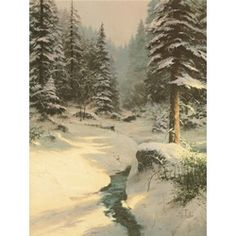 """The blizzard has passed, covering the earth with a blanket of white snow. The spirit of nature is alive and thriving in """"Winter Light"""". Evergreens stand strong, stoic under the weight of the heavy winter frost, while bright rays from the returning sun reflect and shine—a warming glow that reminds us of His presence.  — Thomas Kinkade.  September 1998"""