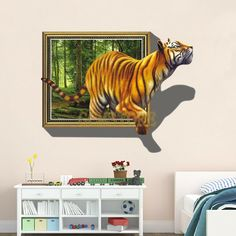 3D Tiger in Jungle Removable PVC Wall Stickers & Decals for Living Room & Bedroom #wallstickers #walldecals #adults #teens #boys #girls #babies #kids #nursery #disney #christmas #kitchen #bedrooms #animals #love #fashion #style #stylish #shopping #cool #cute #amazing #fun #funny #beautiful #follow #followme #shoutout #likes #comment