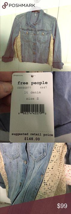 Selling this Free people denim lace jacket Small on Poshmark! My username is: share221. #shopmycloset #poshmark #fashion #shopping #style #forsale #Free People #Jackets & Blazers