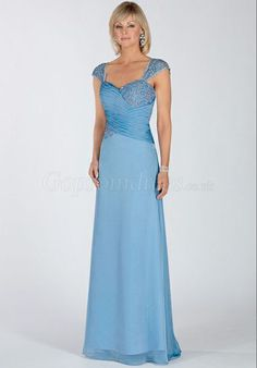 Blue Chiffon Cap Sleeves Ruched zipper back Mother of the Bride Dresses