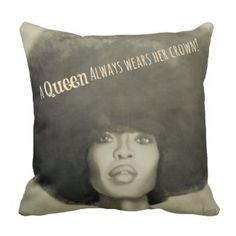 Afro Queen's Crown Throw Pillow