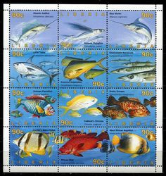 LIBERIA 1996 FISH MINT COMPLETE  SHEET OF 12 STAMPS - $32.50 VALUE!