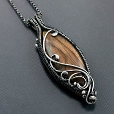 Labradorite Necklace, Fine Silver Necklace - Double Sided Pendant - Maria. $189.00, via Etsy.