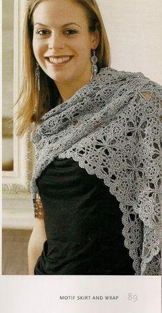 ergahandmade: Crochet Shawl and Skirt + Diagram (simple motif) + Free Pattern