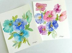 Two poppy paintings in different colors and with slightly different compositions. The more I paint, the easier it is to be loose and fluid with my watercolor paints. It's my favorite way of using th