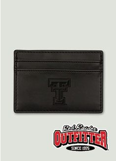 Laser Etched Double T on Slim Black Money Clip Wallet. Also comes in Brown. #RedRaiderOutfitter #TexasTech #RedRaiders #ttu