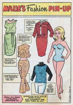 Millie's Fashion Pin-Up * 1500 free paper dolls for other Pinterest paper doll pals at Arielle Gabriel's The International Paper Doll Society *