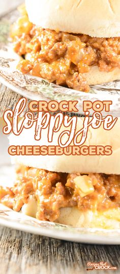 Crock Pot Sloppy Joe Cheeseburgers – Recipes That Crock! Crock Pot Sloppy Joe Cheeseburgers are so yummy EVERYONE will ask for the… Recetas Crock Pot, Crock Pot Food, Crockpot Dishes, Crock Pot Slow Cooker, Slow Cooker Recipes, Cooking Recipes, Hamburger Crockpot Recipes, Crock Pot Beef, Crock Pots