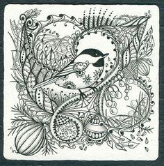Chick-a-dee-dee-dee by Norma J  Bernell, Certified Zentangle Teacher