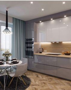 Modern Kitchen Cabinets Ideas to Get More Inspiration Dish – Kitchen Paint – Kitchen Furniture Kitchen Room Design, Luxury Kitchen Design, Luxury Kitchens, Modern Kitchen Cabinets, Kitchen Cabinet Colors, Kitchen Flooring, Modern Kitchen Backsplash, Contemporary Kitchen Interior, Contemporary Design