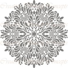 Round Floral Medallion Decorative Stencil MULTIPLE SIZES AVAILABLE on Industry Standard 12 Mil Mylar Design 146592866