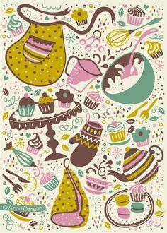 Cupcakes by Anna Deegan, via Behance