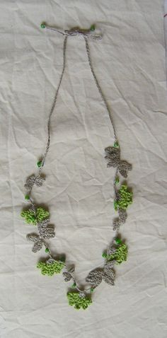 crochet necklace, gray and green