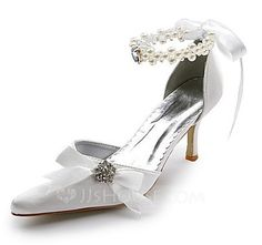 Women's Satin Spool Heel Closed Toe Pumps With Imitation Pearl Rhinestone Ribbon Tie (047004903) - JJsHouse
