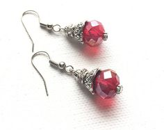Red Glass Earrings, Red Crystal Earrings, Red Earrings, Red Jewelry, Red Dangle Earrings, Red Drop earrings, Red and Silver Earrings